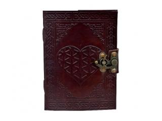 Heart Embossed Leather Journal Instagram Photo Album Handmade paper Coptic Bound with Lock Closure